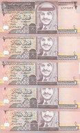 JORDAN 1/2 DINAR 1997 P-28b SIG/21 UNC KING HUSSAIN LOT X5 UNC NOTES */* - Jordan