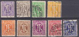GERMANIA, OCCUPAZIONE, BIZONA - 19451946 - Lotto Nove Valori Usati: Yvert 2, 3, 4, 5, 6, 7, 8, 9 E 13. - Bizone