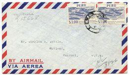 Peru 1958 Registered Airmail Cover Lima To U.S. W/ Scott 472 Paramonga - Peru
