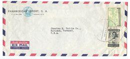 Panama 1950's Airmail Cover To U.S. W/ Scott C223 & RA37 - Panama