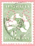 """AUS SC #OB1 U 1914 Official / 1/2p Small """"OS"""" Wmk 8 CV $11.00 - Perfins"""