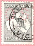 "AUS SC #OB3 U 1914 Official / 2p Small ""OS"" Wmk 8 W/perf Flt UR CV $6.00 - Perfins"