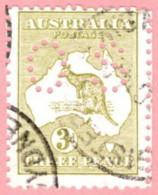 """AUS SC #OB5 U 1914 Official / 3p Small """"OS"""" Wmk 8 CV $8.00 - Perfins"""