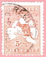 """AUS SC #OB7 U 1914 Official / 5p Small """"OS"""" Wmk 8 """"24NO15"""" W/faults CV $55.00 - Perfins"""