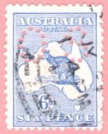 """AUS SC #OB8 U 1914 Official / 6p Small """"OS"""" Wmk 8 Die II W/short Perf BC CV $16.00 - Perfins"""