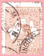 "AUS SC #OB7 U 1914 Official / 5p Small ""OS"" Wmk 8 W/perf Flt BL CV $55.00 - Perfins"