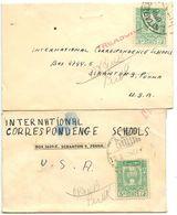 Syria 1940's 2 Small Covers Lattakia & Aleppo To U.S. W/ Scott 318 - Syria