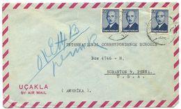 Turkey 1940's Airmail Cover To U.S. W/ Scott 972 President Ismet Inönü - 1921-... Republic