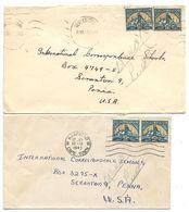 South Africa 1949 2 Covers Cape Town & Vereeniging To U.S. W/ Scott 47a/47b - South Africa (...-1961)