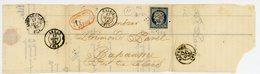 N°4 TTB SEUL SUR LETTRE INCOMPLETE AVEC SES RABATS 1852 PC DE CALAIS PAS DE CALAIS - Marcophilie (Lettres)