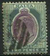 Malta - 1903 Edward VII 2d Grey/purple Used   Sc 23 - Malta (...-1964)