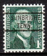 USA Precancel Vorausentwertung Preo, Locals Tennessee, Sunbright 821 - Vorausentwertungen
