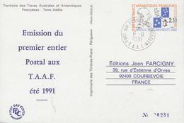 Carte  Entier  Postal  1ére   Emission  T.A.A.F   1991 - Enteros Postales
