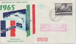 18 / 7  / 194 -  Enveloppe. Premier. Jour  D'émission. -  Inauguration. Du. Tunnel. Routier  1965 - Postzegels