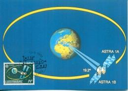 CM-Carte Maximum Card # 1991-Luxembourg  #Europa CEPT # Sciences-Télécommunications - Espace #  Satellites  Astra 1A,1B - Telecom
