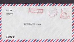 Spain GRACE, BARCELONA Meter Cover Freistempel Brief Letra BALLERUP Denmark - Poststempel - Freistempel