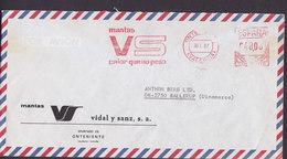 Spain GMANTAS Vidal Y Sanz ONTENIENTE (Valencia) 1987 Meter Cover Freistempel Brief Letra BALLERUP Denmark - Poststempel - Freistempel