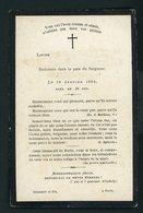 SOUVENIR MORTUAIRE  - DE LOUISE ( Nom Gratté) (  °1858 +18/1/1884) - Décès
