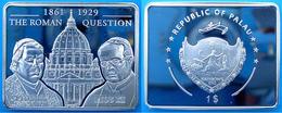PALAU 1 $ 2009 COPPER SILVER PLATED PROOF LA QUESTIONE ROMANA PAPI PIO IX E XI PESO 26g CONSERVAZIONE FONDO SPECCHIO+GAR - Palau