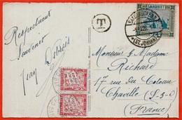 1926 TAXE 92 CHAVILLE Sur CPA SARREBROUCK SARRE Timbre SAARGEBIET Postée à ST.JOHANN - Taxes