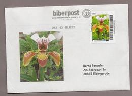 Privatpost - Biberpost - Blumen Orchid Orquídea Orchidée - Frauenschuh Blüte Auf Brief Mit Bild - Orchideen