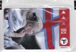 Faroe Islands, OD-034, Mint In Blister 100 Kr, Faroese Map & Flag, Flag, 2 Scans. - Faroe Islands