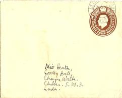 """Grande Bretagne  - Enveloppe """"embossed"""" George V 1 1/2p - De Steeple Easton/Oxfordshire à Londres - Entiers Postaux"""