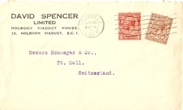 Grande Bretagne 1930 - Enveloppe Commerciale De David Spencer Ltd/Londres à St Gall/Suisse - Lettres & Documents