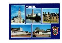 Cpm 37 - AVOINE - Multivues - Blason Eglise Centrale Nucléaire Centre Spécialisé De Velor Salle Des Fêtes Poste - Frankreich
