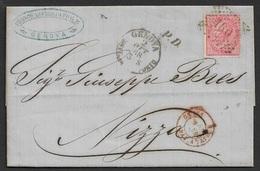 1868 LAC Genova Vers Nice (Nizza) - Poste Maritime - Genes Bat. A Vapeur - 1861-78 Victor Emmanuel II