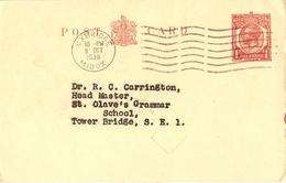 Grande-Bretagne 1938 - George V 1p - Entier Postal, Post Card -  De Uxbridge/Middlesex à Tower Bridge/Londres - Entiers Postaux