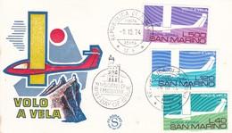 SAN MARINO FDC VOLO A VELA 1974 - FDC