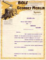 RHÔNE - LYON - BOIS - EXPLOITATIONS FORESTIERES - GEORGES MERLIN - LETTRE - 1926 - France
