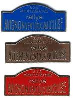 R10 - ASA MEDITERRANEE - RALLYE AVIGNON - VENTOUX - VAUCLUSE - 3 Pin's - Verso : LYGEA - Rallye