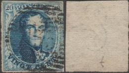 Belgique 1854 COB 7B. 20 C. Médaillon Papier Côtelé Horizontalement, Cachet De Perception P133 Ypres - 1851-1857 Médaillons (6/8)