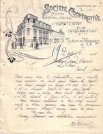 VOSGES - THAON - ENTÊTE LITHOGRAPHIE - SOCIETE COOPERATIVE D'ALIMENTATION ET DE CONSOMMATION - LETTRE - 1914 - France
