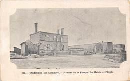 10-CRESPY- INCENDIE DE CRESPY, REMISE DE LA POMPE; LA MAIRIE ET L'ECOLE - France
