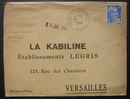 1954 Aurillac Entrepôt (Cantal) Lettre De Fonlupt Pour La Kabiline établissements Legris à Versailles - 1921-1960: Modern Period