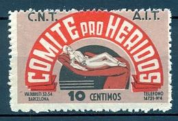 EMISIONES LOCALES GUERRA CIVIL ,  G.G. 1848 ** , C.N.T. , A.I.T. , COMITÉ PRO HERIDOS , 10 CTS. - Viñetas De La Guerra Civil