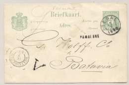 Nederlands Indië - 1888 - Langstempel PAMALANG Op 5 Cent Briefkaart Via KR TEGAL Naar Batavia - Nederlands-Indië