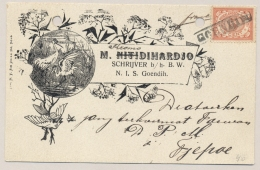 Nederlands Indië - 1910 - Langstempel GOENDIH Op 5 Cent Cijfer Op Curieuze Kaart Schrijver Kromodihardjo Naar Tjepoe - Nederlands-Indië