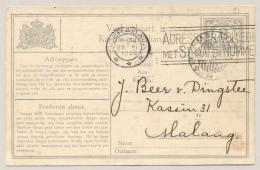 Nederlands Indië - 1932 - Machinestempel Soerabaja ADRESSEER VOLLEDIG... Op Verhuiskaart Naar Malang - Nederlands-Indië
