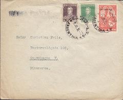 Argentina RAMA CAIDA Black Line Cds. RUFINO 1935 Cover Letra COPENHAGUE Denmark Freiheitssymbol & San Martin Stamps - Argentinien