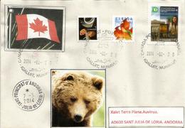 Lettre De Iqaluit, Territoire Arctique Canadien Du Nunavut, Adressée En Andorre, Avec Timbre à Date Arrivée - Ours