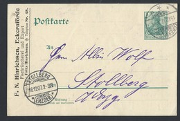 14de.Postkarte. Eckernförde Stöllberg Ging 1907 Durch Die Post. Die Rechnung Für Den Fisch. - Lettres & Documents