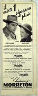 """{04463_o}  Publicité « Moreton » Extraite D'un Paris Match Année 1952 """" En Baisse """" - Reclame"""