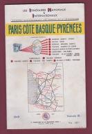 110718A - 1949 Itinéraires Nationaux Internationaux PARIS COTE BASQUE PYRENEES Plan Géo TOULOUSE Pub MARIE BRIZARD RHUM - Dépliants Touristiques