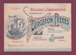 110718A - Publicité HUILERIE SAVONNERIE BERGERON FRERES 13 SALON DE PROVENCE Voilier Huile Café Prix - Autres