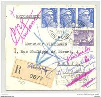 Lettre Recommandée - Plusieurs Oblitérations Paris Et Marques Postales - 1954 - Marianne De Gandon - Postmark Collection (Covers)