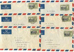 Trinidad & Tobago 1950 6 Airmail Covers Port-of-Spain To U.S. W/ Scott 58 Government House - Trinidad & Tobago (...-1961)